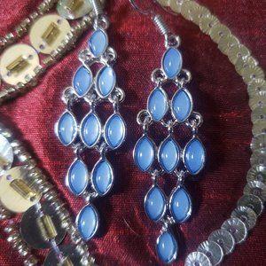 Pearl Blue Opalescent Diamond Design Earrings